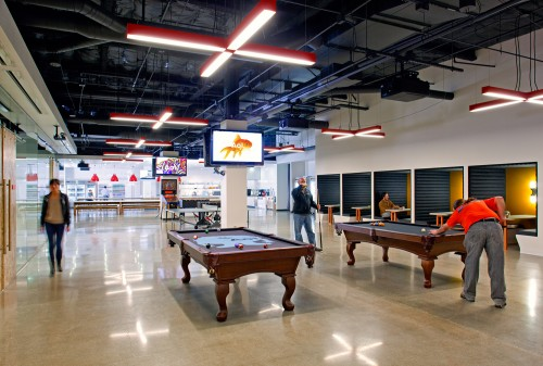 AOL HQ break out area with pool table