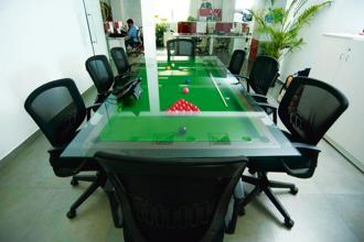 The pool table conference table at Puma's Bangalore HQ