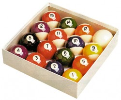 2 Inch Standard Set Spots & Stripes Numbered Pool Balls