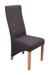 Baxter Linen Effect Dining Chairs in Charcoal