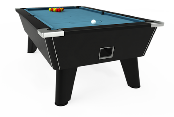 Omega free play pool table with Hainsworth smart cloth in powder blue