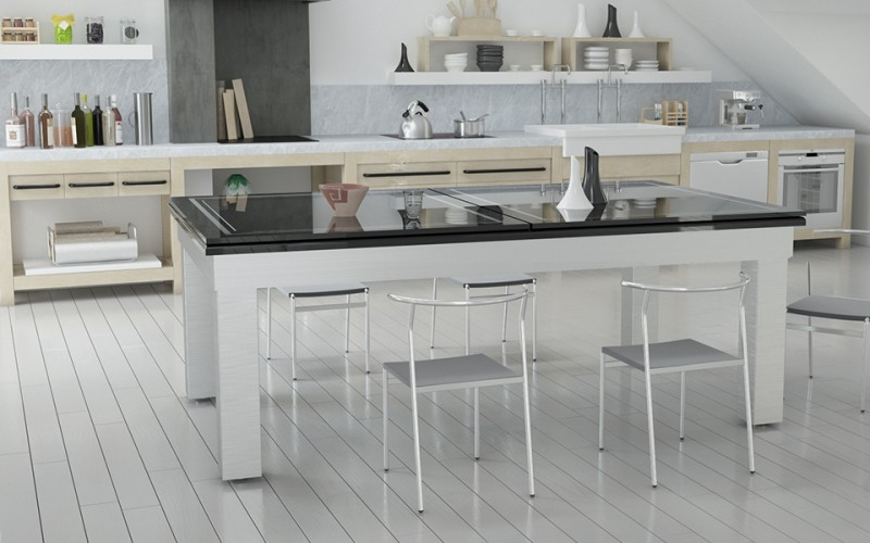 Le Lambert Pool Dining Table in white with glass tops