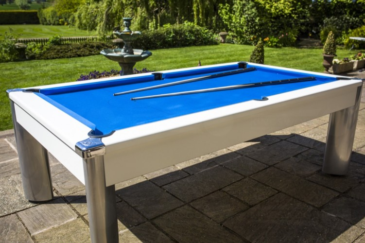 Fusion Outdoor Pool Dining Table in white with blue cloth