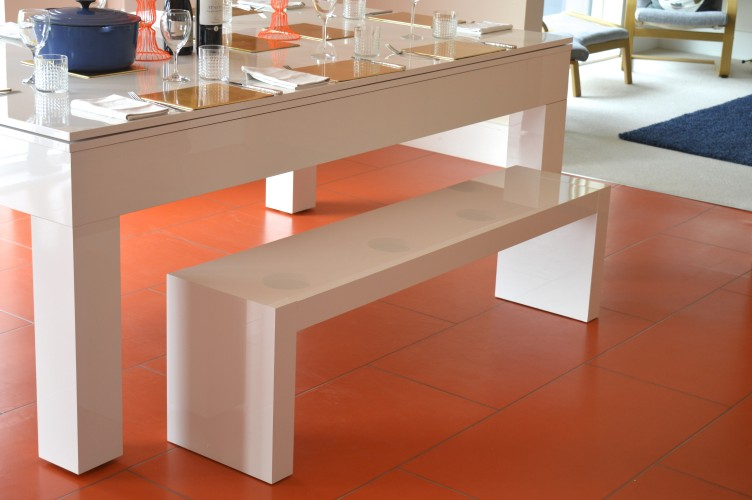 ... Kingswood Aspen Pool Dining Table Side View With Bench ...