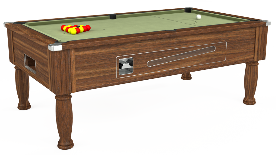 Ascot coin operated pool table in dark walnut with sage cloth