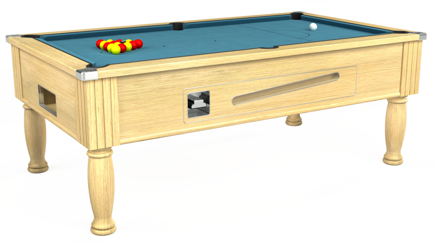 Ascot coin operated pool table in light oak with powder blue cloth