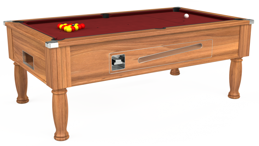 Ascot coin operated pool table in light walnut with maroon cloth