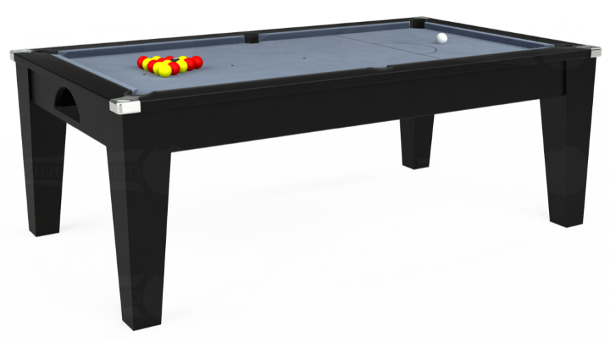 Avant Garde Pool Dining Table in black with bankers grey cloth