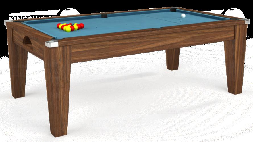 Avant Garde Pool Dining Table in dark walnut with powder blue cloth