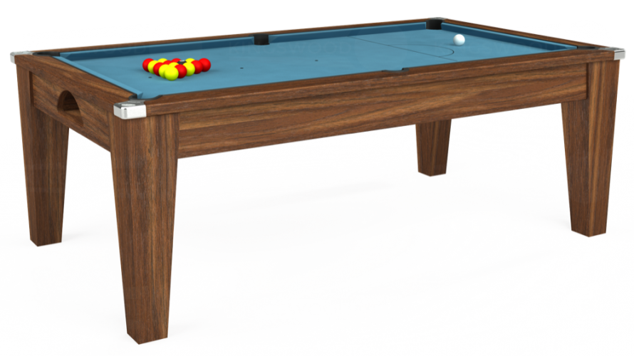 Avant Garde Pool Dining Table in dark walnut with powder blue cloth