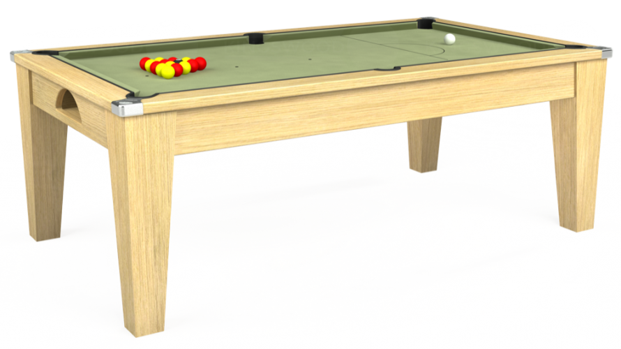 Avant Garde Pool Dining Table in light oak with sage cloth