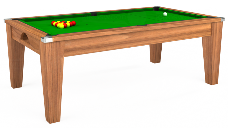 Avant Garde Pool Dining Table in light walnut with green cloth