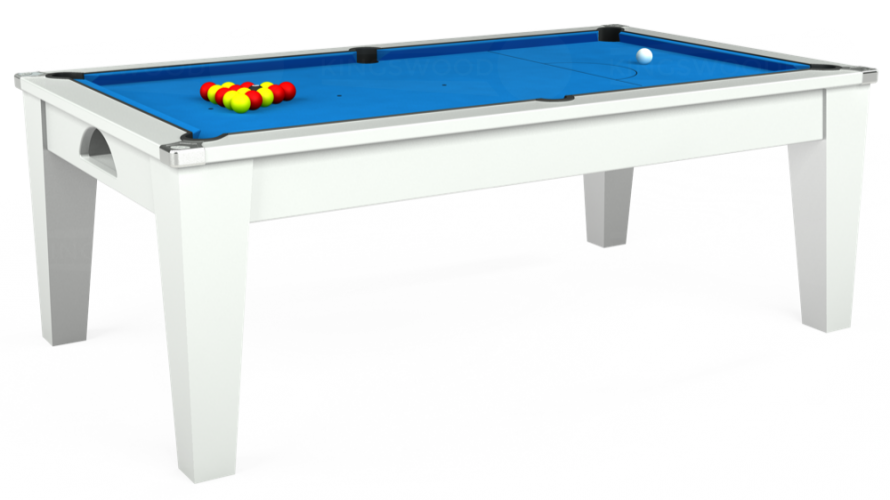 Avant Garde Pool Dining Table in white with electric blue cloth.