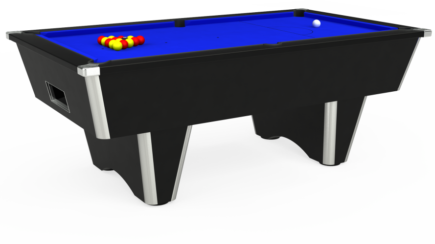 Elite Free Play Pool Table in black with blue cloth