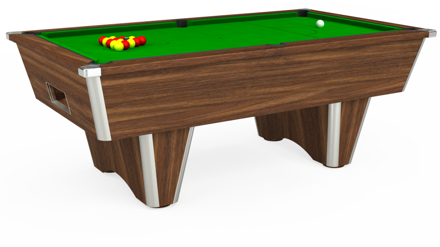 Elite Free Play Pool Table in dark walnut with green cloth
