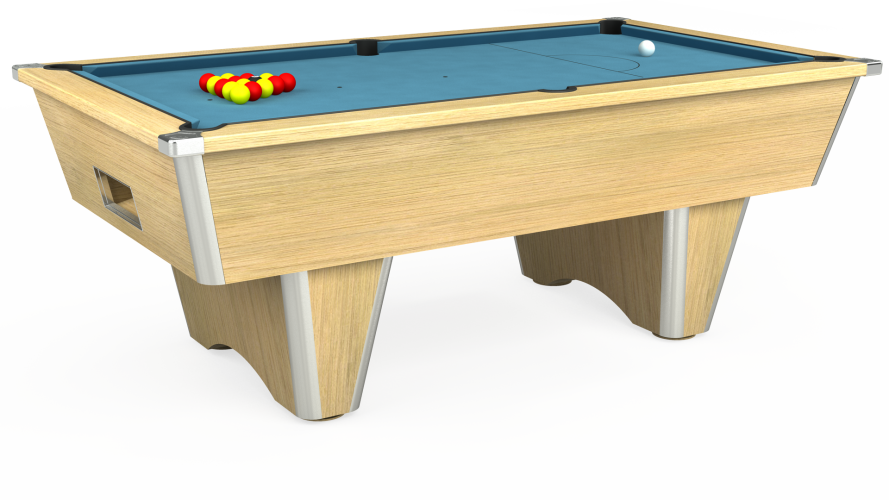 Elite Free Play Pool Table in light oak with powder blue cloth
