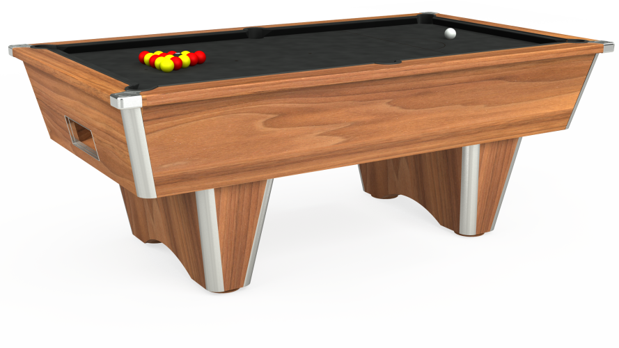 Elite Free Play Pool Table in light walnut with black cloth
