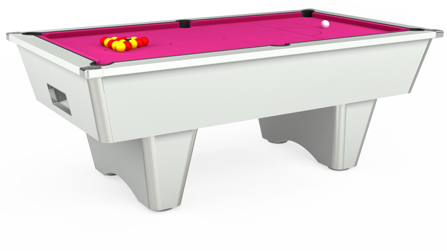 Elite Free Play Pool Table in white with fuchsia cloth