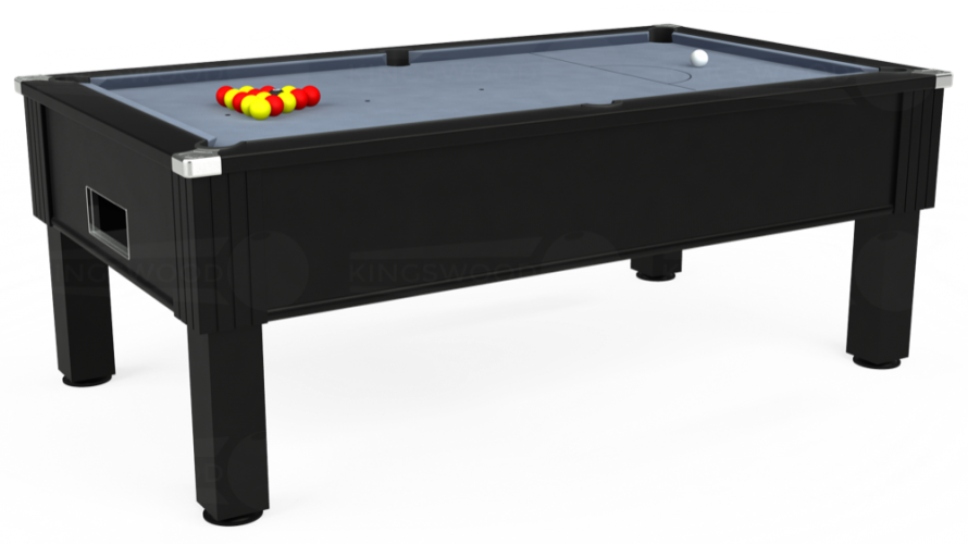 Emirates Free Play Pool Table in black with bankers grey cloth