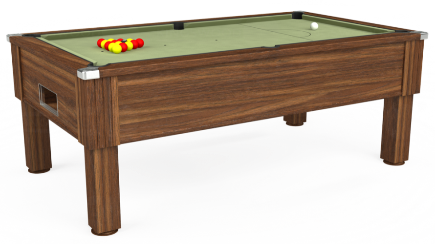 Emirates Free Play Pool Table in dark walnut with sage cloth
