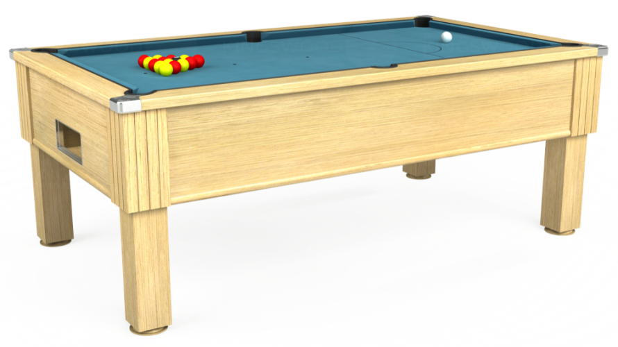 Emirates Free Play Pool Table in light oak with powder blue cloth