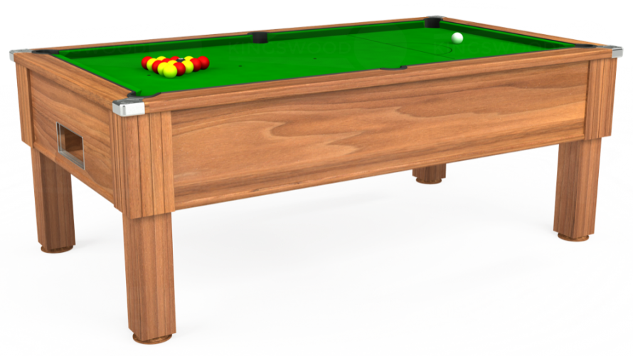Emirates Free Play Pool Table in light walnut with green cloth