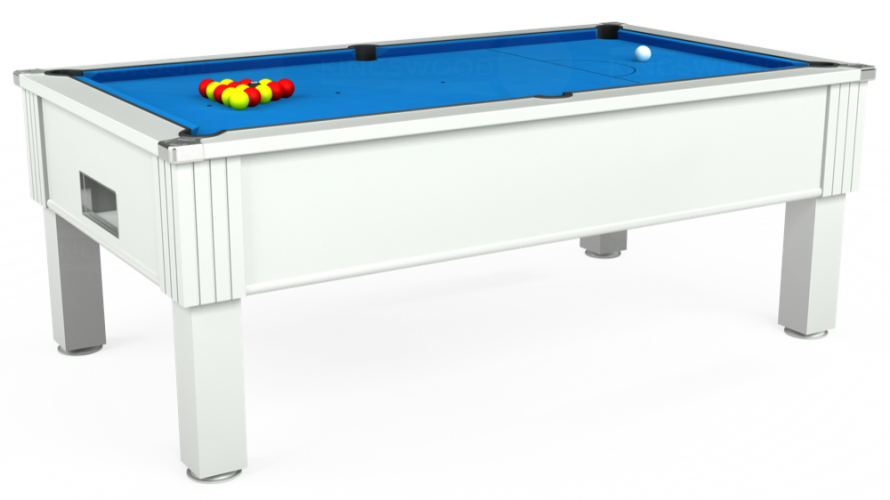 Emirates Free Play Pool Table in white with electric blue cloth
