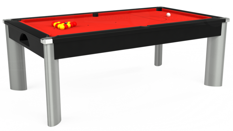 Fusion Pool Dining Table in black with red cloth