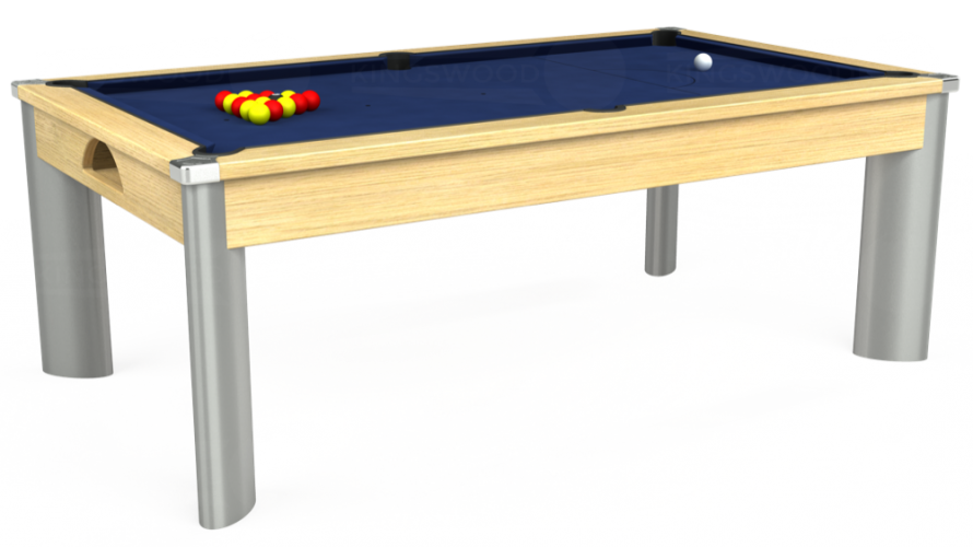 Fusion Pool Dining Table in light oak with navy cloth