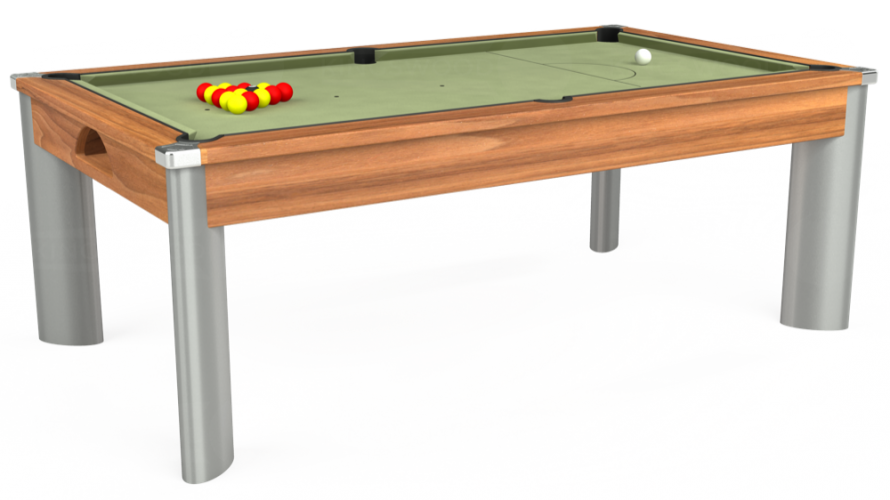 Fusion Pool Dining Table in light walnut with sage cloth