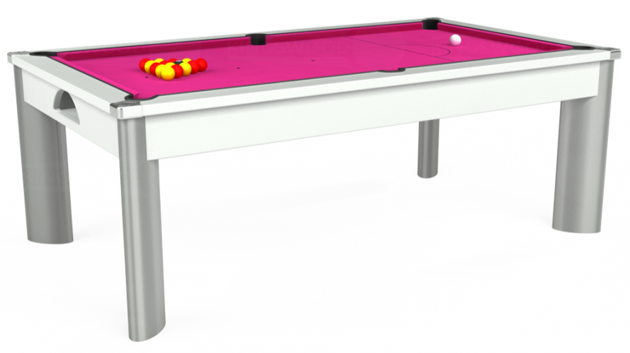 Fusion Pool Dining Table in white with fuchsia cloth