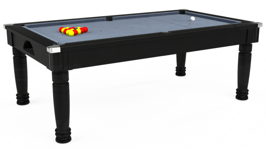 Majestic Pool Dining Table in black with bankers grey cloth