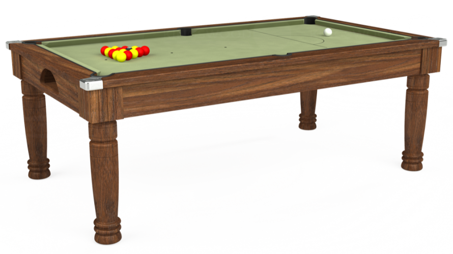 Majestic Pool Dining Table in dark walnut with sage cloth