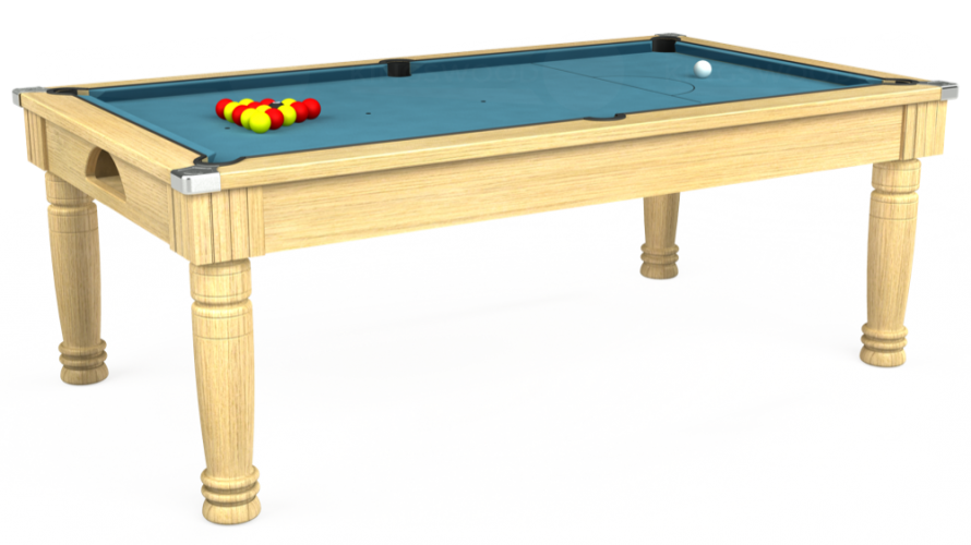Majestic Pool Dining Table in light oak with powder blue cloth
