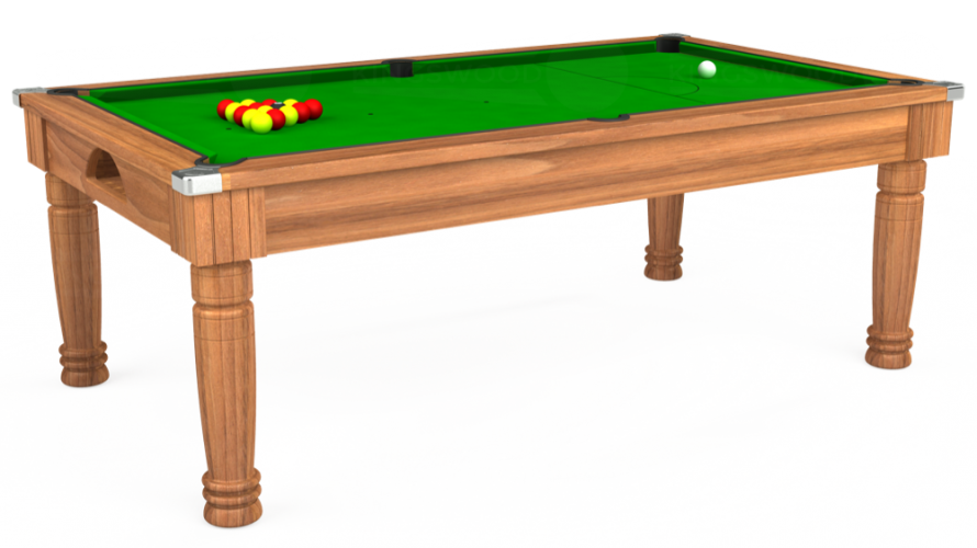 Majestic Pool Dining Table in light walnut with green cloth