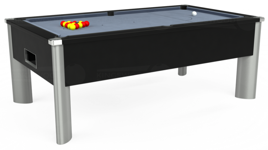 Monarch Fusion Free Play Pool Table in black with bankers grey cloth