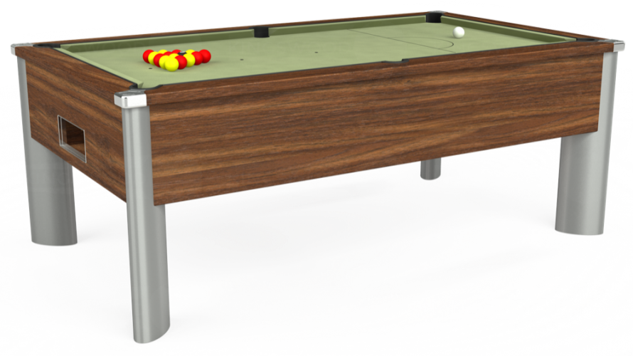 Monarch Fusion Free Play Pool Table in dark walnut with sage cloth