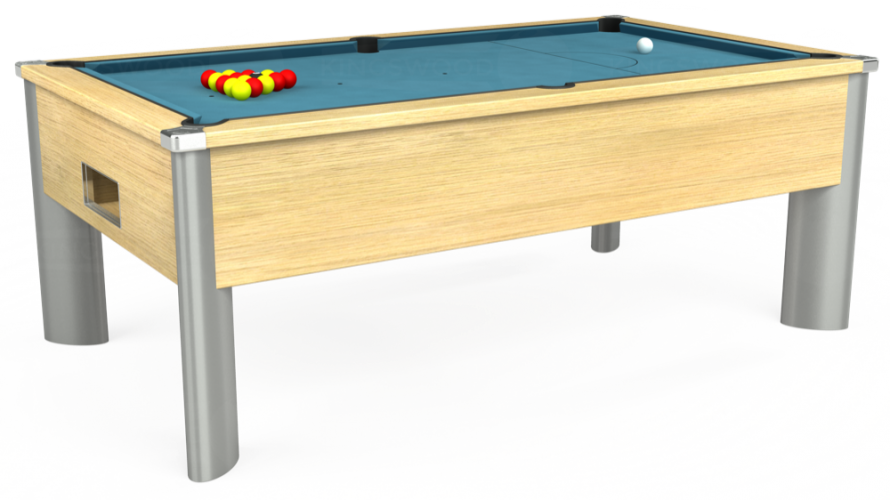Monarch Fusion Free Play Pool Table in light oak with powder blue cloth