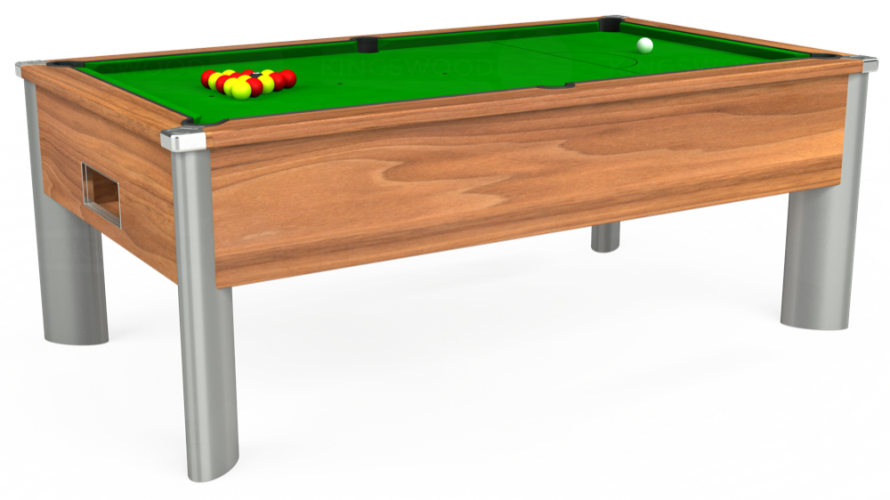 Monarch Fusion Free Play Pool Table in light walnut with green cloth