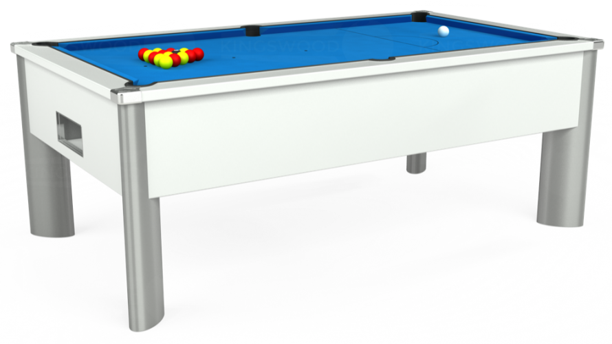 Monarch Fusion Free Play Pool Table in white with electric blue cloth