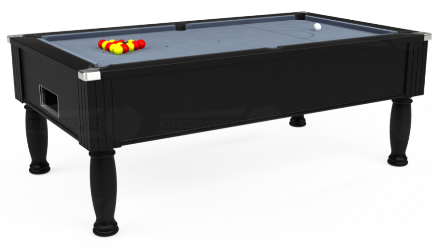 Monarch Free Play Pool Table in black with bankers grey cloth