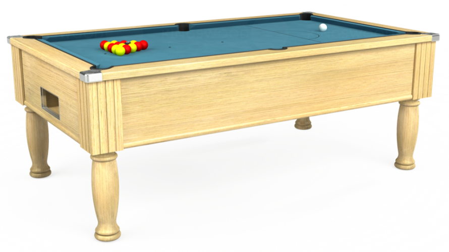 Monarch Free Play Pool Table in light oak with powder blue cloth