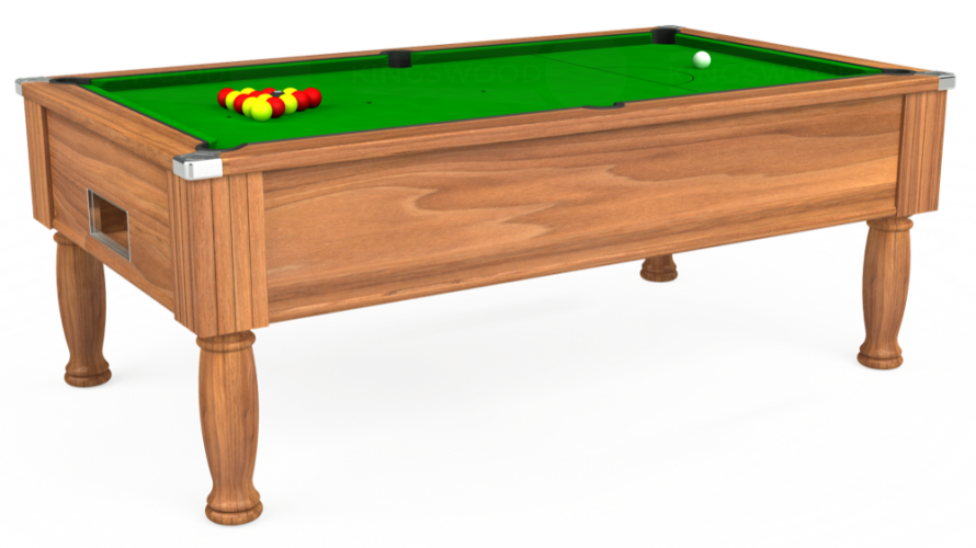 Monarch Free Play Pool Table in light walnut with green cloth