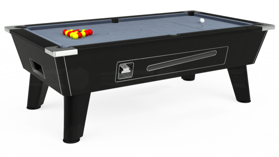 Omega Coin Operated Pool Table in black with bankers grey cloth