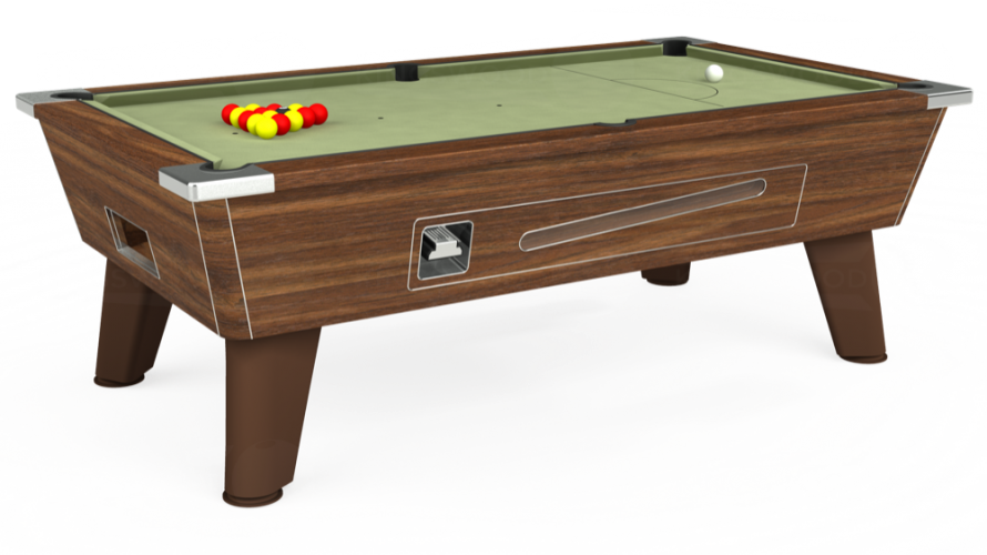 Omega Coin Operated Pool Table in dark walnut with sage cloth