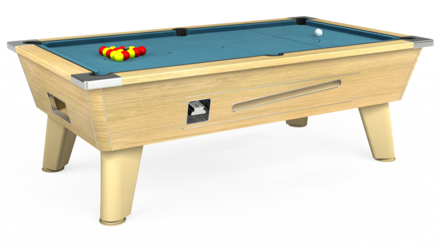 Omega Coin Operated Pool Table in light oak with powder blue cloth