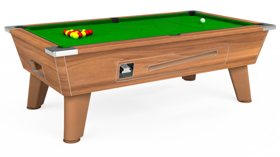 Omega Coin Operated Pool Table in light walnut with green cloth