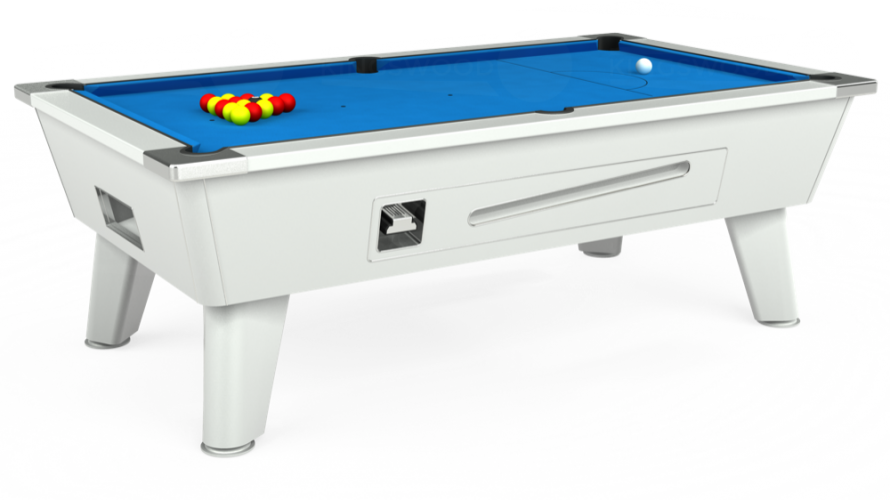 Omega Coin Operated Pool Table in white with electric blue cloth