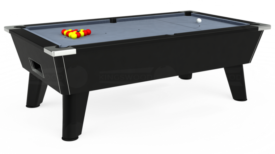 Omega Free Play Pool Table in black with bankers grey cloth