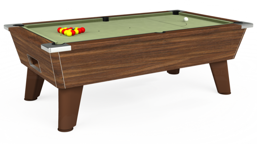 Omega Free Play Pool Table in dark walnut with sage cloth